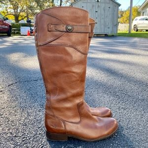 Frye Molly Saddle Brown Tall Leather Riding Boots